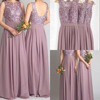 Wholesale Mauve Bridesmaid - Dusty Mauve Bridesmaid Dresses For Weddings Real Photos Chiffon Jewel Open Backless Prom Gowns Pleat With Applique 2016 Formal Maid of Honor