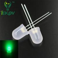 ingrosso lampada diffusa-100 pz / borsa 10mm Diffused Green LED Ultra Luminoso F10MM Round top Emitting Diodes Lampada Lampadina Componenti Elettronici Hot SALE