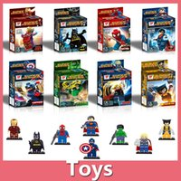 Wholesale Wholesale Batman Action Figures - Free Shipping Super Heroes The Avengers Iron Man Hulk Batman Wolverine Thor Building Blocks 8pcs Sets action figure DIY Bricks Toys 161024