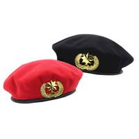 chapeaux britanniques pour les hommes achat en gros de-Automne Hiver Feutre Bérets de Feutre pour Hommes Femmes Mode Européenne US Army Casquettes Chapeau De Style Britannique Marin Casquette De Sécurité pour Unisexe GH-242