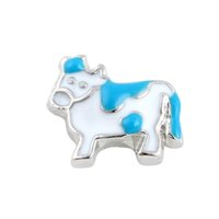 Wholesale Dairy Cows Wholesale - 20Pcs Lot Newest Cute Floating Locket Charms Animal Dairy Cow Charms for Magnetic Glass Locket