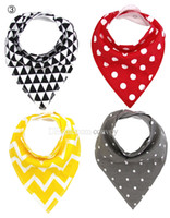 Wholesale Layer Scarf - Set 4pcs 58 Designs baby infant triangle Bandana bibs cartoon bibs burp cloths Pure cotton double layer bibs bandana scarf Free DHL KSF02
