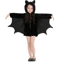 Wholesale cute children s clothing girls online - New Child Animal Cosplay Cute Bat Costume Kids Halloween Costumes For Girls Black Zipper Jumpsuit Connect Wings Batman Clothes