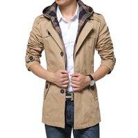 beiläufiger kapuzenmänner-grabenmantel großhandel-Trenchcoat-Art- und Weiseeinreiher der neuen Art-Männer abnehmbarer mit Kapuze dünner langer Trenchcoat-Mann-beiläufiger langer Mantel der Männer mit einer Haube YH-071