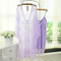 Wholesale Summer Ware - wholesale free shipping women summer fashion Sexy pajamas lace skirt + cardigan two-piece nightgown home ware robe set