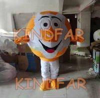 Wholesale Football Mascots - Wholesale-New Orange Soccer Ball Mascot Costume Football Foot-ball Fancy Dress Cartoon Suit Free Shipping