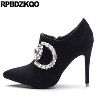 Short Bling Pointed Toe Wedding Booties Rhinestone Ankle High Heel Sapatos de marca de luxo Mulheres Stiletto Fall Suede Boots 2017 Black