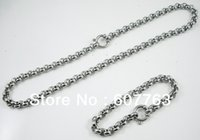 Wholesale Highly Steel Chain - Wholesale And Retail Highly Polished Shining 316L Stainless Steel Heavy Pearl Rolo Chain Jewelry Sets Necklace Plus Bracelet