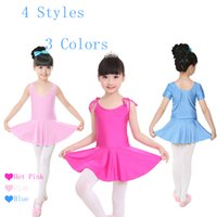Wholesale Gymnastic Costumes - Girls Children Summer Shiny Spandex Camisole Vest Long Short Sleeve Ballet Dance Dress Kids Gymnastics Dance Costumes