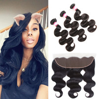 Wholesale Full Length Mink - Charming Queen 8A Mink Brazilian Body Wave Virgin Hair with 13x4 Ear to Ear Full Lace Frontal Closure Malaiaysian Peruvian Human Hair Weaves