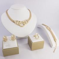 Wholesale Best Western Gift - Best western Queenwinner Accessories Wedding Women Africa Jewelry Set 18K Gold Plated Crystal Vintage Earing Bracelet Necklace Ring Wq-001