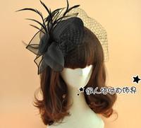 ingrosso velo bianco bianco cappello nero-Black Fascination Hat Feather Birdcage Veli Black Wedding Veil Princess Wedding Cappelli Vintage Woman White Veil Cappello a cilindro