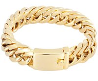 "Wholesale 14mm Men Bracelet - BRAND NEW HIGH QUALITY 95G HEAVY MEN`S JEWELRY GIFT BIKER 316L STAINLESS STEEL CUBAN CURB LINK GOLD PLATED BRACELET (8.5""x 14mm)"