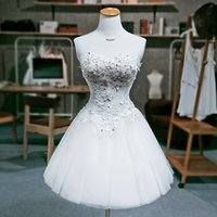 Wholesale Ship Up Knee Dresses - Ball Gown Sweetheart Lace Tulle Cocktail Dress 2017 New Lace Up Party Gowns Custom Made Drop Shipping