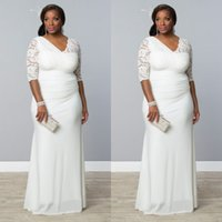 stoffspalten großhandel-Neueste Plus Size Brautkleider ausgestattet Mantel Spalte asymmetrischen Stoff V-Ausschnitt Illusion Lace Halbarm geraffte Chiffon Brautkleider