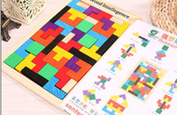 Wholesale Wholesale Russian Wooden Toys - Wooden Russian Tetris Puzzle Jigsaw Intellectual Building Block and Training Toy for Early Education Children wood intellegence Toys