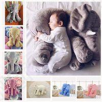 Wholesale Elephant Plush - 5 color LJJK277 elephant pillow baby doll children sleep pillow birthday gift INS Lumbar Pillow Long Nose Elephant Doll Soft Plush