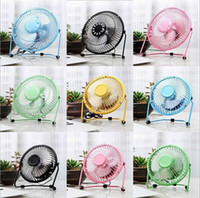 "Wholesale Portable Electric Radiators - USB Electric 4"" Metal Head Fan 360 Rotate Metel Mute Radiator Fan Mini Portable Cooler Cooling Desktop Power PC Laptop Desk Fan 120pcs lot"