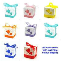 favores de rosas vermelhas venda por atacado-Europeu 7 cores de Amor caixa de Doces De Casamento De Noiva Casamento Doces Embalagem Caixa de Doces Doces Caixas De Doces, 100 pçs / lote