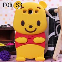 Wholesale S4 Winnie - 3D Winnie the pooh Phone Cases Animal Silicone Cell Phone Protector Cover Shell for iPhone 4 5 6 PLUS touch5 S3 S4 S5 NOTE 2  4