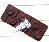 Wholesale Lollipops Molds - Lollipop mold silicone mould 6 lattices in circles DIY chocolate molds ice cube mold comes with a plastic rod