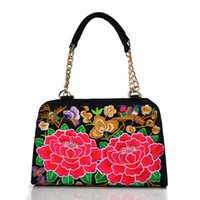 Wholesale Handling Peony - Ethnic Style Peony Embroidered Handbags National Wind Women Messenger Bag Canvas Chain Handle Women Totes Shoulder Bags