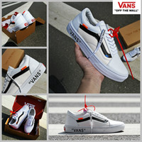 Wholesale Custom Designer Shoes - 2017 Off White X VANS Old Skool Running Shoes Women Mens Shoeslaces Classic White DIY Customs Designer Fashion Casual Canvas Sneakers 35-44