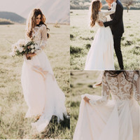 Wholesale long white bohemian dresses - New Long Sleeves Country Wedding Dresses 2018 Jewel Appliques Champagne Lining A Line Chiffon Bohemian Boho Bridal Gowns Cheap Custom Made