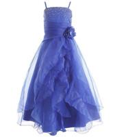 vestido popular para la fiesta al por mayor-Girl's Popular Beautiful Cascading Crystal Organza Rhinestone Niñas Vestidos del desfile Formal Kids Party Prom Vestidos Flower Girls Dresses