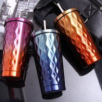Wholesale cold steel shipping for sale - Group buy New ML Gradient Color Stainless Steel Cold Cup Coffee Drink Tea Mug Travel Insulation Straw Cups With Lid Color WX9