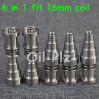 Wholesale Hot Fitting Machine - Hot Quality Titanium Nail 6 IN 1 fit 16 mm coil Domeless Titanium Nail For Male and Female