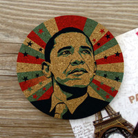 Wholesale Cork Pieces - Wholesale- 1 Piece American President Barack Hussein Obama Gift Souvenir 10cm Round 0.5cm Thickness Insulation Mat Hot Pad Cork Coaster
