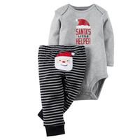 Wholesale Long Sleeve New Baby Bodysuit - New Baby Christmas Sets Fashion Baby Christmas Santa Long Sleeve Rompers+Striped Pants 2 Pcs Suit Christmas Newborn Bodysuit Set