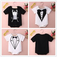 Wholesale Cheap Toddler Outfits - baby girls rompers infant toddler kids outfits bowtie hot selling children jumpsuits one-piece suit romper onesies real factory cheap price