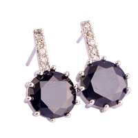 Wholesale Black Gem Stud Earring - Lingmei Multicolor Gems Purple Multicolor CZ Silver plated Earrings Jewelry Wholesale