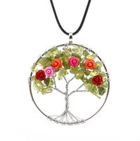 Wholesale Chip Tin - 1pc Womens Green Gemstone Quartz Chips Rose Flower Tree of Life Pendant Necklace Natural Stone Jewelry