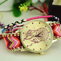 Wholesale Stainless Steel Braided Watches - Wholesale-Excellent Quality Womens Quartz Watches Dreamcatcher Bracelet Watches Women Braid Dress Watches Clock Relogio for Gift