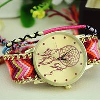 Wholesale Ribbon Braiding - Wholesale-Excellent Quality Womens Quartz Watches Dreamcatcher Bracelet Watches Women Braid Dress Watches Clock Relogio for Gift