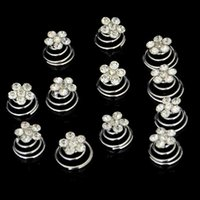 Wholesale Twist Pins Crystal Wholesale - Wholesale 12Piece lot New Wedding Bridal Silver Plated Crystal Imitation Pearl Swirl Twist Hair Spin Pins Women DHF775