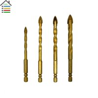 High Carbon Steel spear head - New pc Ti Spiral Hex Porcelain Tile Glass Cross Spear Point Head Drill Bits Hole Saw mm Masonry Drilling order lt no track