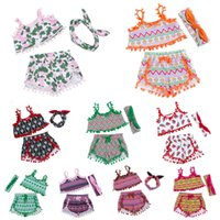 Wholesale Multi Swing Set - Green Beach Wear Clothing for Baby Girls 2017 New Summer Boutique St. Patrick Day Gifts Girl Clothes Sets with Swing Top Shorts Headband