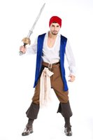 Wholesale Caribbean Performance Costumes - New Men's Fashion Anime Cosplay Halloween Costume Pirates Of The Caribbean Captain Jack Sparrow Costume Masquerade Performance Clothing