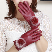 Wholesale Ladies Purple Leather Gloves - Gloves Fashion Women Lady Rabbit Fur PU Leather Gloves Driving Winter Warm cycling Sports Gloves Five Fingers Gloves 3 colors Christmas Gift