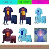 Wholesale Boys Names Top - 2017 2018 Top thai quality SUAREZ O.DEMBELE Jerseys kids kit Camisas Neymar Messi INIESTA PIQUE Soccer Jersey 17 18 customize name number