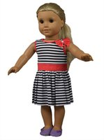 "Wholesale Pretty Chinese Girls - Pretty 18 inch American doll accessories of American doll clothes colorful striped 18"" girl doll dress"