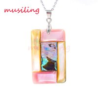 Wholesale Pink Mother Pearl Shell - Natural Abalone Pink Shell Splicing Pendants Pendulum Jewelry Charms Joining Together Accessories European Trendy Jewelry For Women