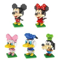 Wholesale Micky Mouse Plastic - LOZ Diamond Block Mickey Mouse Donald Duck Micky Minny Goofy Toys Parent-child Games Building Blocks Children's Educational Toys