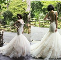 Wholesale white lace dresse resale online - 2017 Classic Lace Tulle Sweetheart Mermaid Wedding Dresse Sexy See Through Puffy Spaghetti Strap Bridal Wedding Dress Gowns