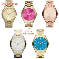 Wholesale Slimming Toning - free shipping New Ladies' Pavé-Embellished Gold-Tone Ultra-Slim Runway Designer Watch
