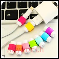 câble de données de marque achat en gros de-Câble de recharge USB Ligne de données silicone Saver Protector Casque Ecouteur Fil Cordon de protection universel pour tous les câbles de marque